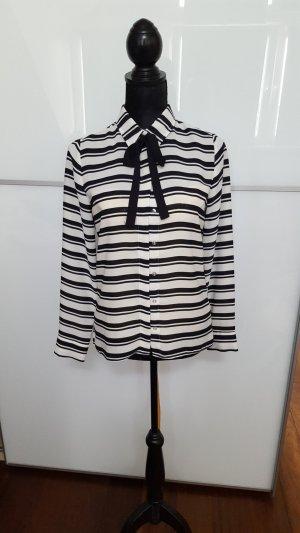 Atmosphere Tie-neck Blouse white-black