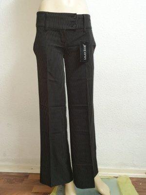Laura Scott Linnen broek zwart-donkerbruin