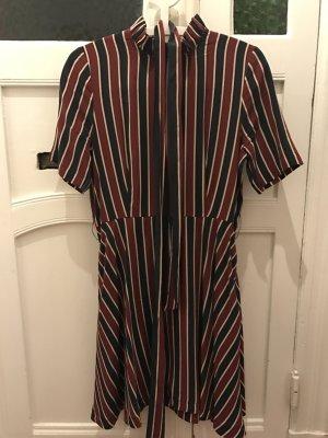 Streifenkleid aus Seide gestreift von Ganni in Rot und Blau tailliertes Kleid XS Blusenkleid