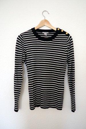 Streifenpullover schwarz/weiß mit goldenen Knöpfen (M)