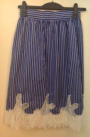 Zara Basic Jupe en dentelle bleuet-blanc