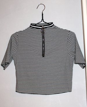 T-shirt court blanc-noir
