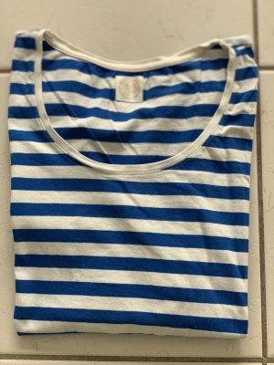 Des Petits Hauts Gestreept shirt wit-neon blauw Katoen