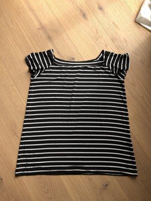 Boatneck Shirt black-white viscose