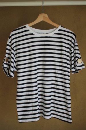 Zara Woman Gestreept shirt wit-zwart Katoen