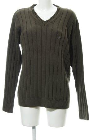 strellson V-Ausschnitt-Pullover olivgrün Business-Look