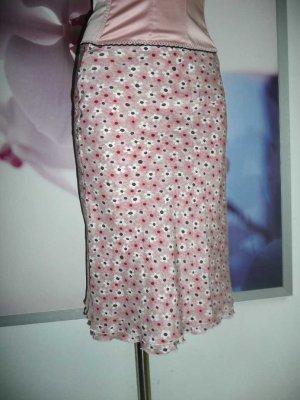 Strenesse Blue Blumen Flower Mille fleur Rock Skirt 100% Seide