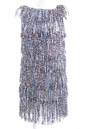 Strenesse Blue Fringed Dress allover print extravagant style