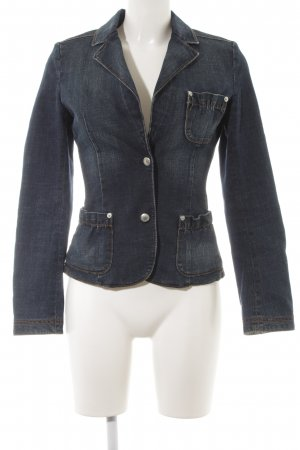 Strenesse Blue Denim Blazer dark blue jeans look