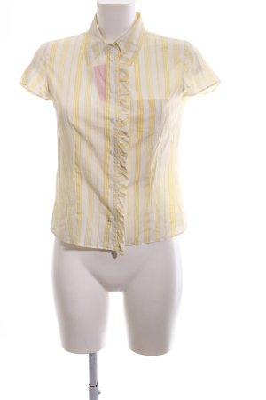 Strenesse Blue Kurzarmhemd weiß-blassgelb Streifenmuster Casual-Look