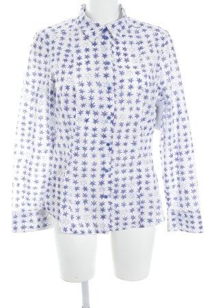 Strenesse Blue Langarmhemd weiß-blau Sternenmuster Casual-Look