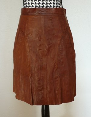 Strenesse Blue Leather Skirt cognac-coloured leather