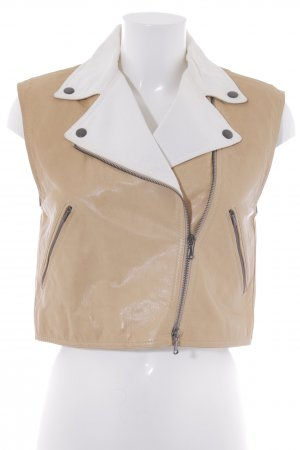 Strenesse Blue Leather Vest beige-natural white casual look