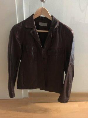 Blue Strenesse Leather Jacket bordeaux leather