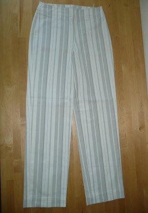 Strenesse Blue schmale knöchellange Hose Pants creme grau gestreift Gr 32-34