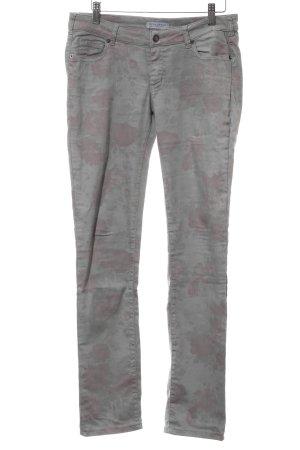 Strenesse Blue Slim Jeans hellgrau-rot Blumenmuster Casual-Look
