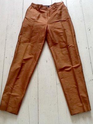 Blue Strenesse High Waist Trousers brown silk