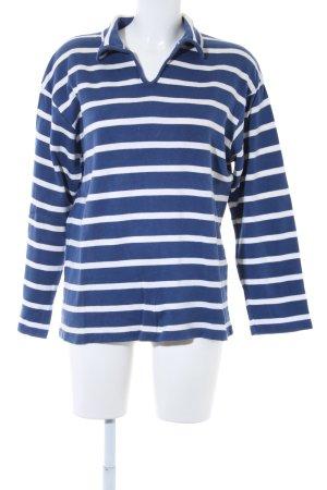 Strenesse Blue Maglione di lana blu-bianco motivo a righe