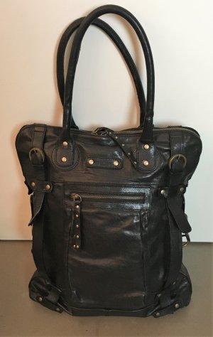 Strenesse Blue Shoulder Bag black-bronze-colored leather