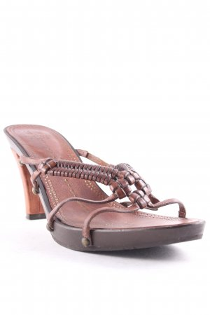 Strenesse Blue High-Heeled Toe-Post Sandals brown casual look