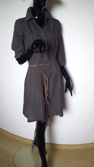 Strenesse Blue Shirtwaist dress dark brown linen