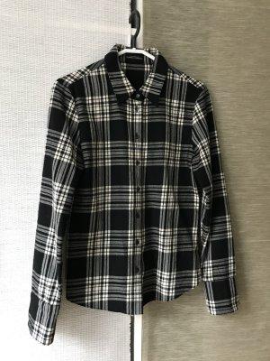 Strenesse Design Winter-Schwarz-Weiß kariertes Hemd / Bluse sehr gute Qualität, reine Schurwolle