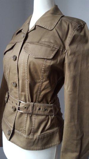 Strenesse Gabriele Strehle Blazer casual Jacke Biker Cargo khaki braun 34 Xs S
