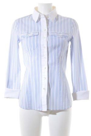 Strenesse Gabriele Strehle Hemd-Bluse weiß-hellblau Streifenmuster