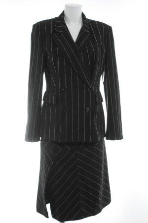 Strenesse Gabriele Strehle Kostüm schwarz-creme Streifenmuster Business-Look