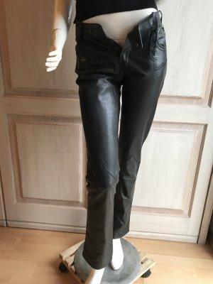 Strenesse Gabriele Strehle Luxus Lederhose schwarz echtes Leder 34