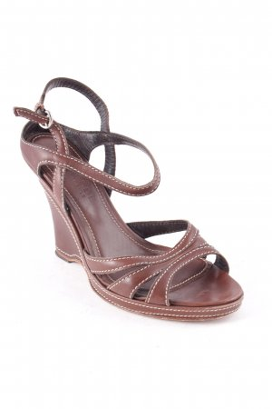 Strenesse Gabriele Strehle Wedge Sandals brown elegant