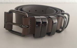 Strenesse Gabriele Strehle Cinturón de cuero marrón grisáceo