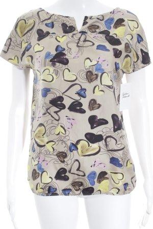 Strenesse Kurzarm-Bluse Herzmuster schlichter Stil
