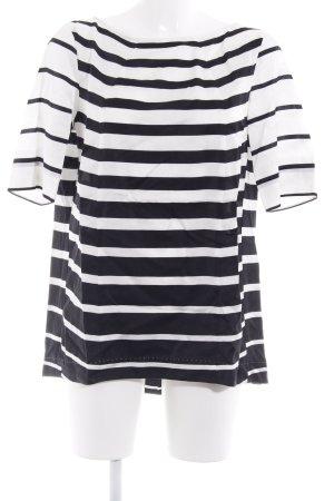 Strenesse Kurzarm-Bluse schwarz-weiß Streifenmuster Casual-Look