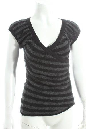 Strenesse Kurzarmpullover grau-schwarz Streifenmuster klassischer Stil