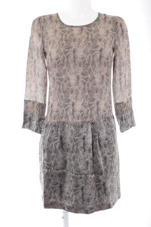 Strenesse Langarmkleid schwarz-graubraun abstraktes Muster Elegant