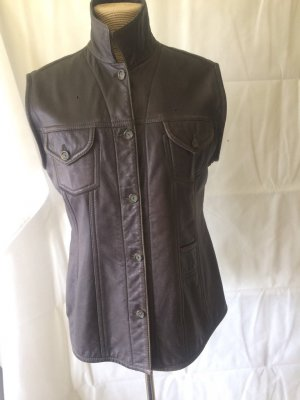 Blue Strenesse Leather Vest bronze-colored leather