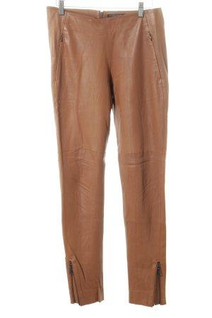 Strenesse Pantalon en cuir cognac style campagnard
