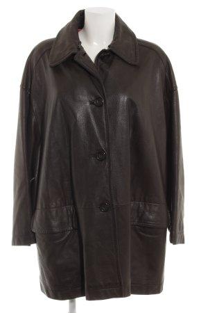 Strenesse Abrigo de cuero marrón-negro