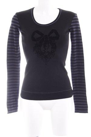 Strenesse Longsleeve schwarz-dunkelblau Streifenmuster Casual-Look