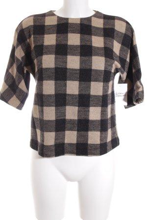 Strenesse Rundhalspullover beige-schwarz Karomuster minimalistischer Stil