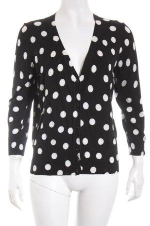 Strenesse Strick Cardigan schwarz-weiß Punktemuster schlichter Stil