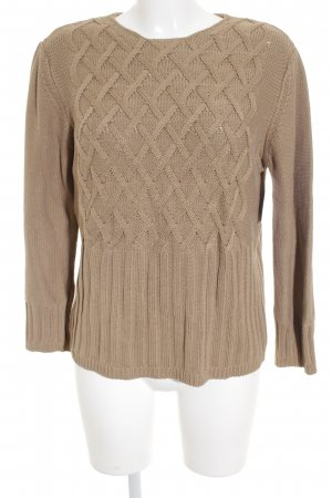 Strenesse Strickpullover hellbraun Zopfmuster Casual-Look