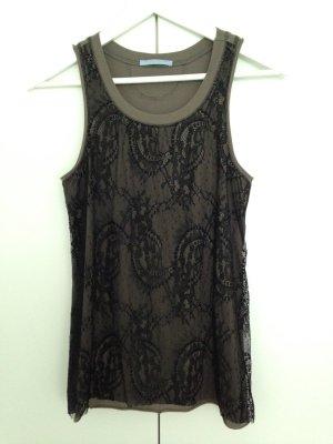 Strenesse Top mit Spitze, khaki-schwarz, Größe 36