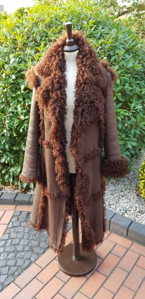 Strenesse Gabriele Strehle Leather Coat brown red fur