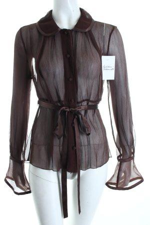 Strenesse Transparenz-Bluse dunkelbraun Romantik-Look