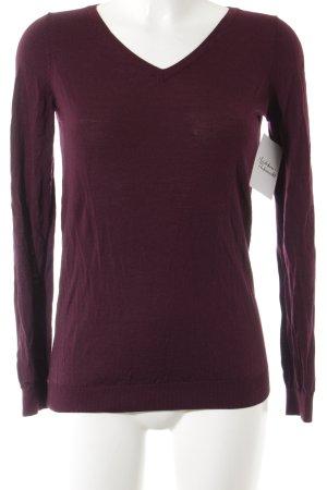 Strenesse V-Ausschnitt-Pullover braunviolett klassischer Stil