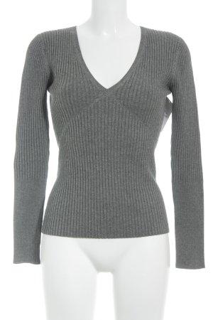 Strenesse V-Ausschnitt-Pullover grau Webmuster