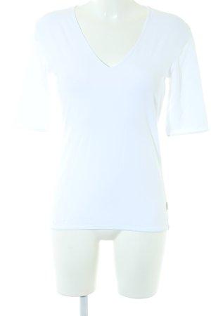 Strenesse Camisa con cuello V blanco look casual
