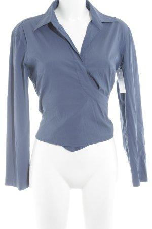 Strenesse Wickel-Bluse graublau Webmuster Casual-Look